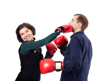Couple is ready to fight for fun photo