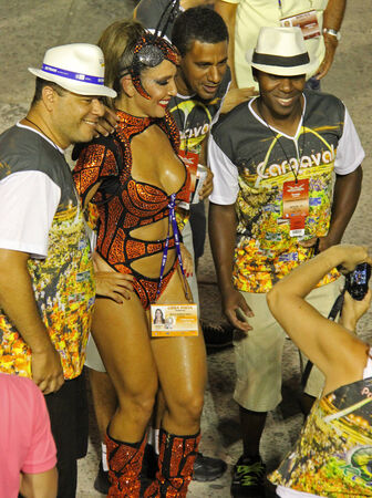 entertainers: Entertainers at a carnaval in Rio, Brazil 03 Mar 2014 No model release available Editorial use only Editorial