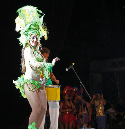 entertainers: Entertainers performing on stage at a carnaval in Playa del Carmen, Mexico 08 Feb 2013 No model release Editorial only Editorial