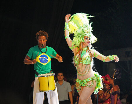 Entertainers performing on stage at a carnaval in Playa del Carmen, Mexico 08 Feb 2013 No model release Editorial only Redakční