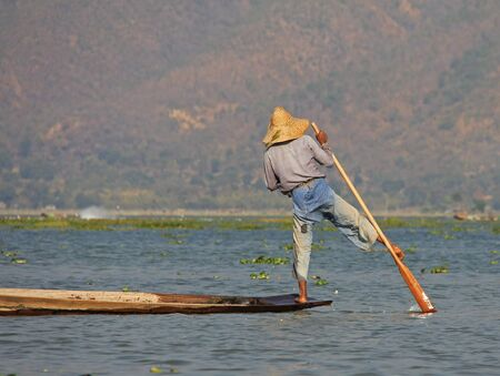 fisher animal: A man fishing on Inle Lake in Myanmar Feb 2015 No model release Editorial use only