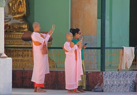 nuns: Buddhist nuns at a monastery in Myanmar Feb 2015 No model release Editorial use only