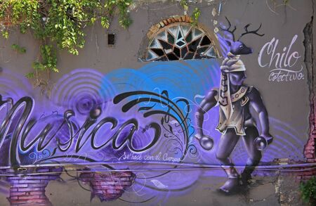 sprayed: Street art on the wall of a building Stock Photo