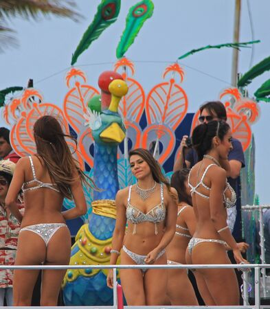 entertainers: Entertainers performing at a parade during a carnaval in Veracruz, Mexico 09 Feb 2016 No model release Editorial use only Editorial