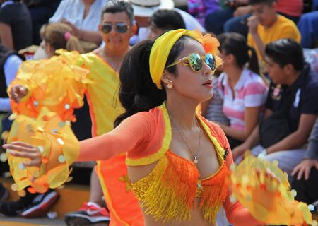entertainers: A dancer performing at a parade during a carnaval in Veracruz, Mexico 07 Feb 2016