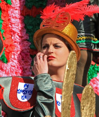 A performer at a parade during a carnaval in Loule, Portugal 26 Feb 2017 No model release Editorial use only