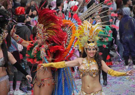 ダンサーのカーニバル パレードでポルトガル、Loule の 2017 年 2 月 28 日も行ってモデル リリース編集のみを使用します。