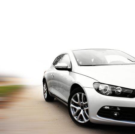 silver sports car: silver car
