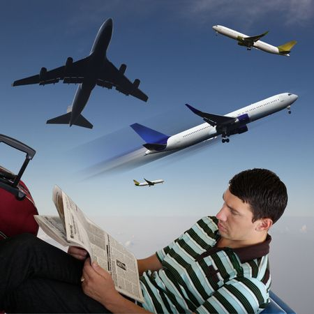 Man reading newspaper at the airport in the sitting Stock Photo - 8175005