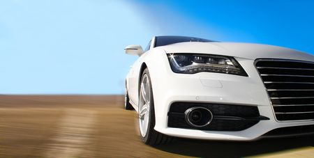 White Sports Car on a colorful background photo