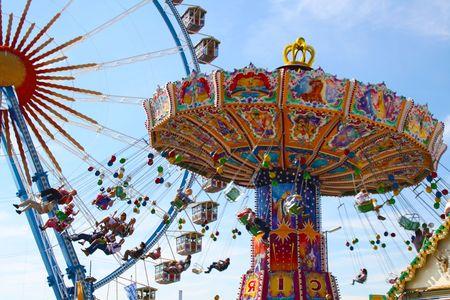 traditional festivals: Carrusel en la Oktoberfest en Baviera  Foto de archivo