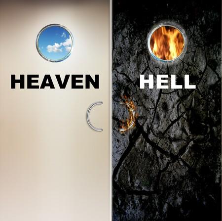 infierno: dos puertas al cielo y el infierno  Foto de archivo