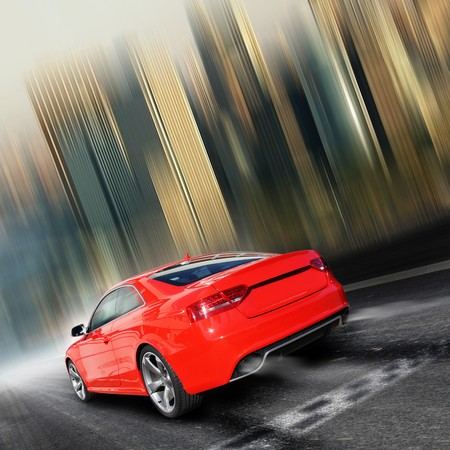 red sports car on a colorful background photo