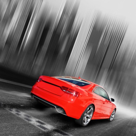 red sports car on a blackwhite background