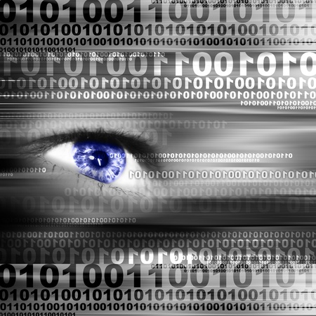 vision futuro: Ojo digital en una visi�n de futuro  Foto de archivo
