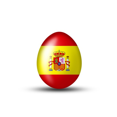 egg with a spanish flag on a white background photo