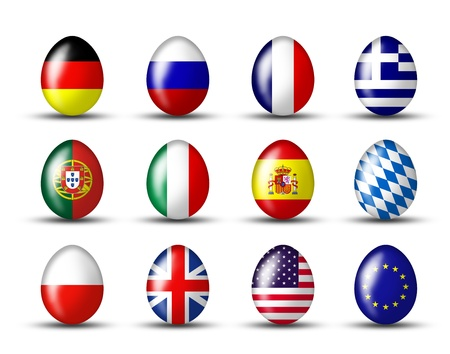eastertime: eggs with a international flag on a white background Stock Photo
