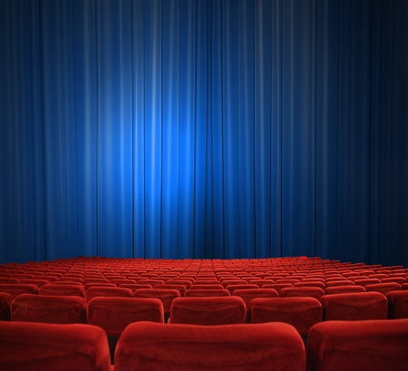 entertainment funny: classic cinema with red seats