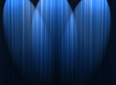 blue spotlight: Blue curtain of a classical theater  Stock Photo