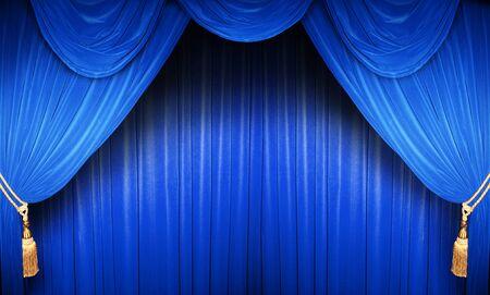 curtain theater: Cortina azul de un teatro cl�sico