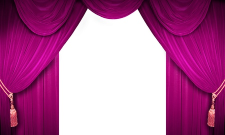 Pink curtain of a classical theater  Stock Photo