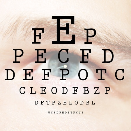 eye doctor: Eye test with ABC by ophthalmologist  Stock Photo