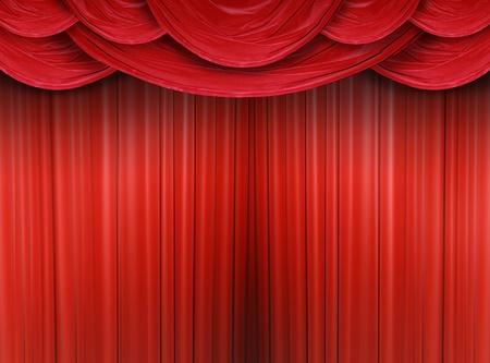 rideaux rouge: Rideau rouge d'un th??tre classique