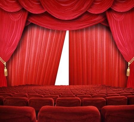 curtain: classic cinema with red seats