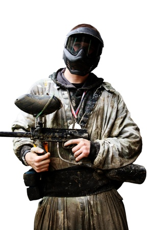 paintball: A dangerous man with a gun in his hand  Stock Photo