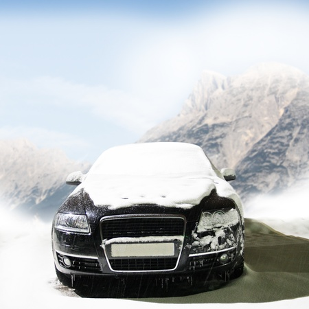 car in the winter on the road Stock Photo