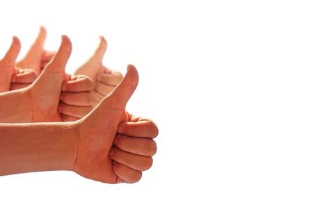 men's hands make thumbs up  Standard-Bild