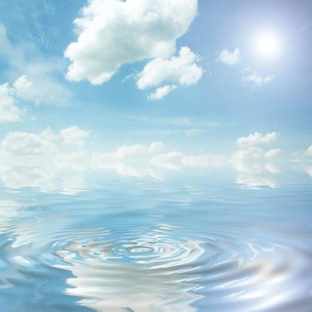 blue sky over the ocean photo