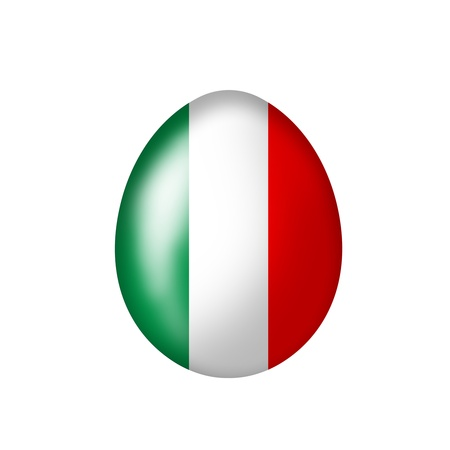 nations: Easter Egg with an Italian flag on a white background