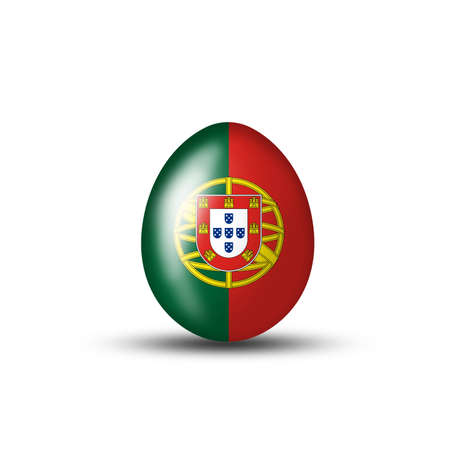 creative egg painting: Easter egg with portugisischer flag on a white background