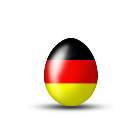 creative egg painting: Easter egg with a German flag on a white background