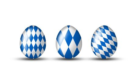 Easter eggs with Bavarian flag on a white background photo