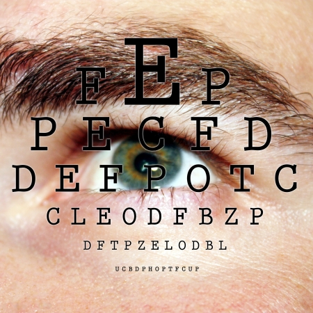 sight chart: Ojo de prueba con ABC por un oftalm�logo Foto de archivo