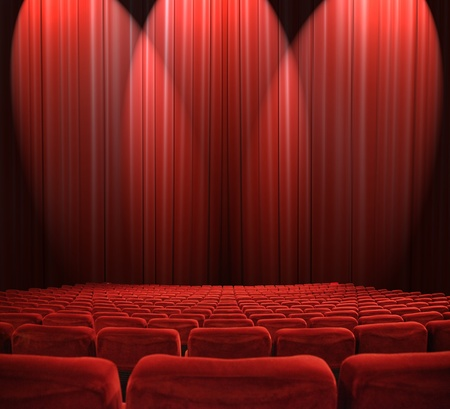 red stage curtain: classic cinema with red seats