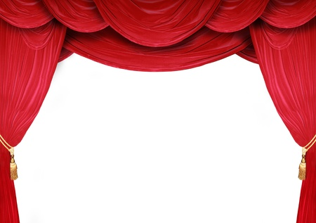 red stage curtain: Red curtain of a classical theater