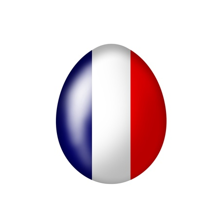 Easter egg with a French flag on a white background photo