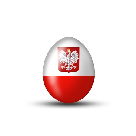 Easter egg with a Polish flag on a white background photo