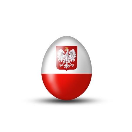 bandera de polonia: Huevo de Pascua con una bandera polaca sobre un fondo blanco