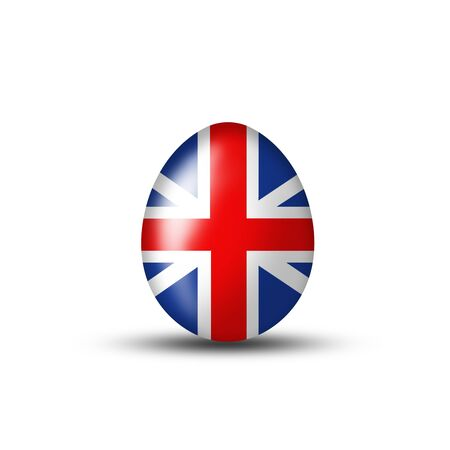 creative egg painting: Easter egg with an English flag on a white background Stock Photo