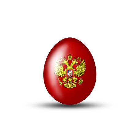russian easter: Easter egg with a Russian flag on a white background