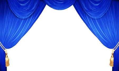 sipario chiuso: tenda blu di un teatro classico Archivio Fotografico