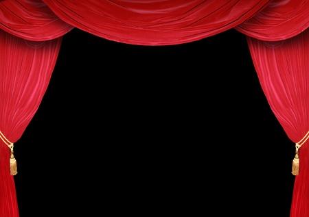 Rood gordijn van een klassiek theater