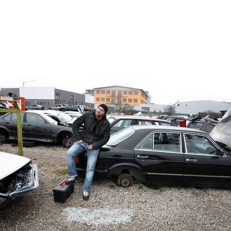 junked: scrap yard for car recycling Stock Photo