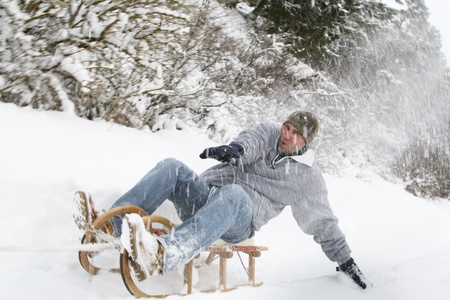 young people have fun in the winter photo