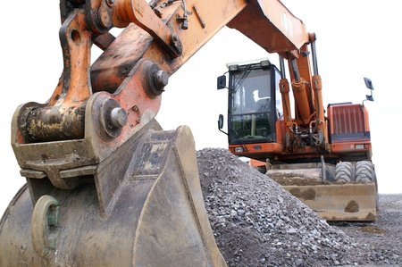 large excavator at the construction site in germany photo