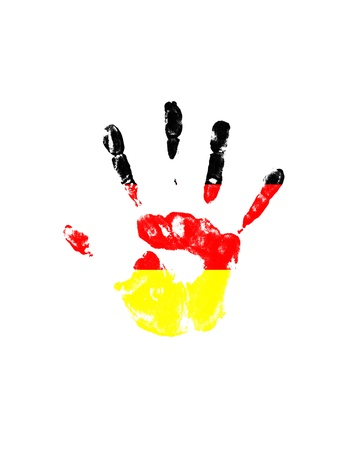 handprints: many colored handprints on a white background